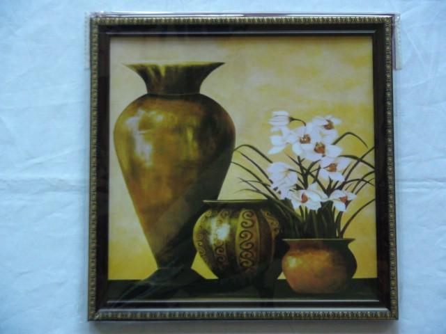 """Панно """"3 вазы и цветы"""" 26*26 см."""