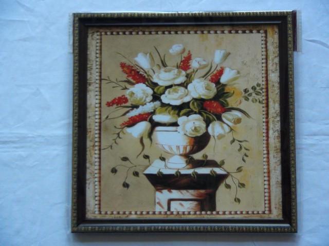"""Панно """"Белая ваза и белые розы 26*26 см."""