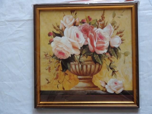"""Панно """"Розовые розы в вазе"""" 26*26 см."""