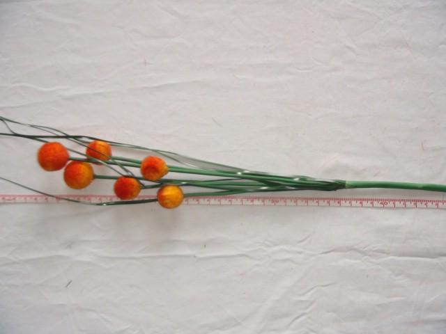 Ветка с шарами 57 см., 6 голов, D=2 см., оранжевая, 1 штука.