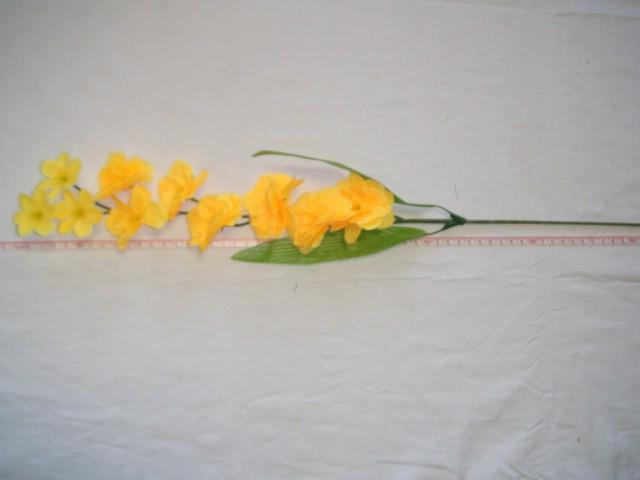 "Ветка ""Сакура"" 10 цветков, 67 см., желтая, 1 штука."