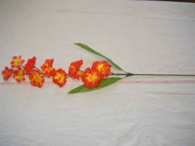 """Ветка """"Сакура"""" 10 цветков, 67 см., оранжевая, 1 штука."""