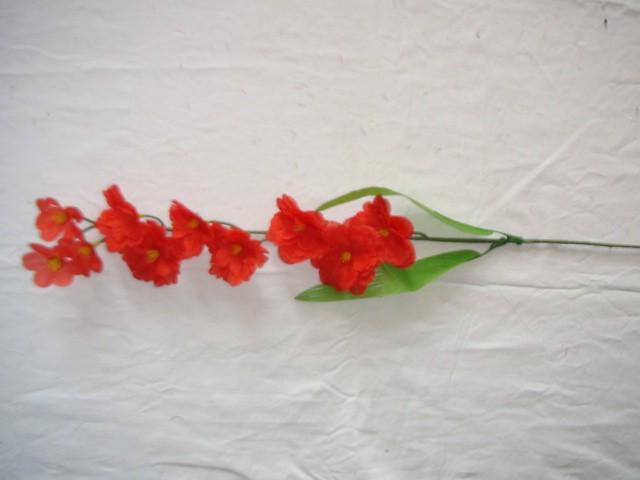 "Ветка ""Сакура"" 10 цветков, 67 см., красная, 1 штука."