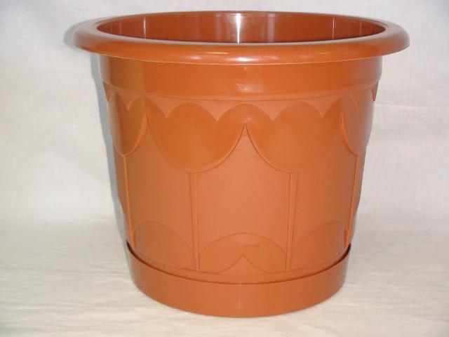 Горшок для цветов с поддоном коричневый 225 мм., пластик