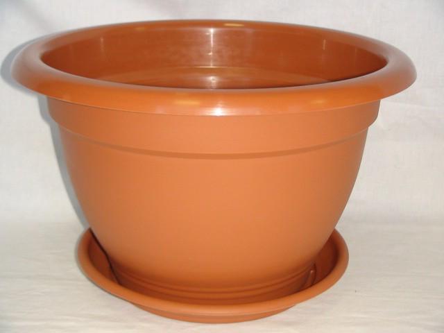 Горшок для цветов с поддоном коричневый 6,3 л., пластик