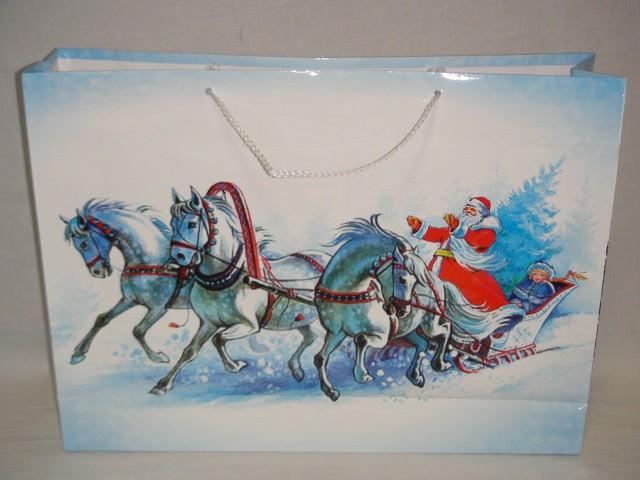 Пакет новогодний с ручками 45*33*10, бумага