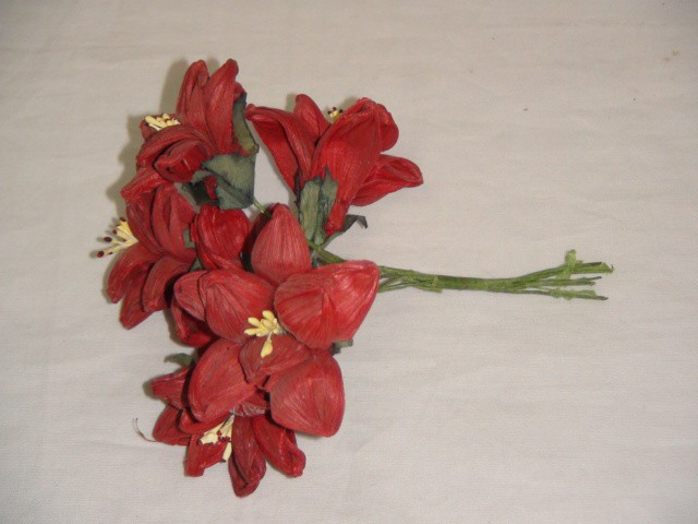 """Цветок искусственный """"Бутон"""" 10*6 см., бумага, металл ( цена за 6 штук )"""