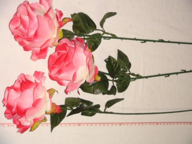 Роза круглая 68 см., D=10*10 см., пластик, ткань, розовая