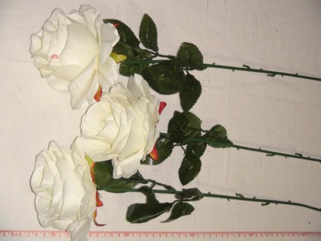 Роза круглая 68 см., D=10*10 см., пластик, ткань, белая