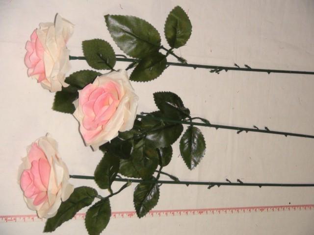Роза раскрытая 52 см., D=7*4 см., пластик, ткань, розовая
