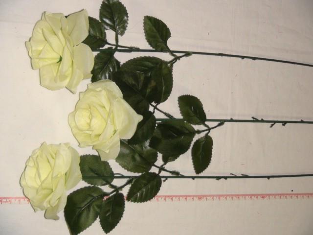 Роза раскрытая 52 см., D=7*4 см., пластик, ткань, бело-зеленая