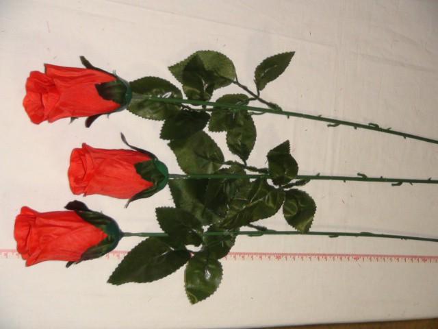 Роза-бутон 79 см., D= 9*5 см., пластик, ткань, красная