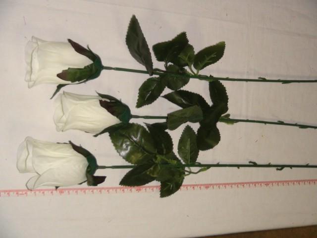 Роза-бутон 79 см., D= 9*5 см., пластик, ткань, белая