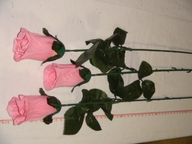 Роза-бутон 79 см., D= 9*5 см., пластик, ткань, розовая