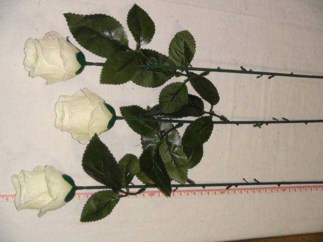 Роза-бутон 74 см., D= 5*3 см., пластик, ткань, белая