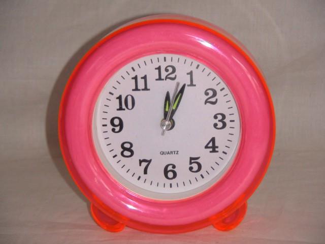 """Будильник  на батарейках """"Круг"""" 12 см., пластик розовый"""