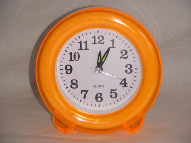 """Будильник  на батарейках """"Круг"""" 12 см., пластик оранжевый"""