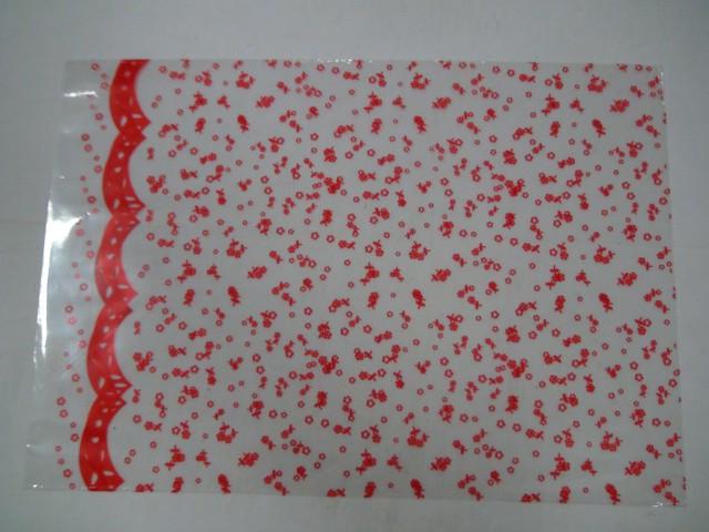 """Пакет прозрачный с рисунком, красный """"Цветы"""" 25*35 см., пвх, 1 штука."""