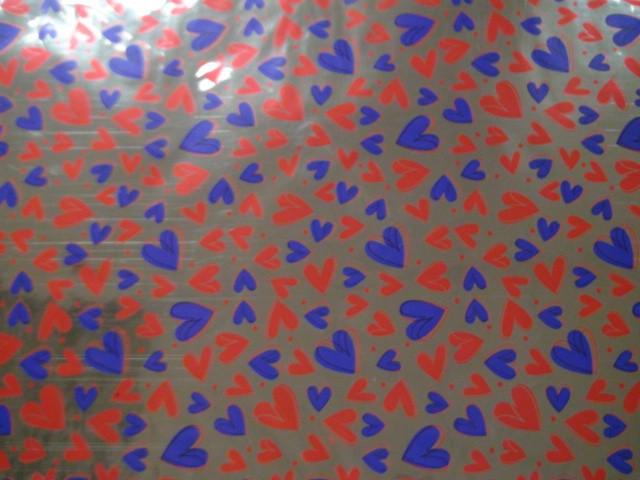 """Пленка упаковочная металлизированная """"Сердечки"""" 100*70 см., пвх (ЦЕНА ЗА 50 ЛИСТОВ)"""