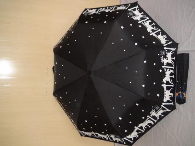 Зонт женский п/автомат, черный, 8 спиц, D= 100 см., полиэстер, ткань, металл