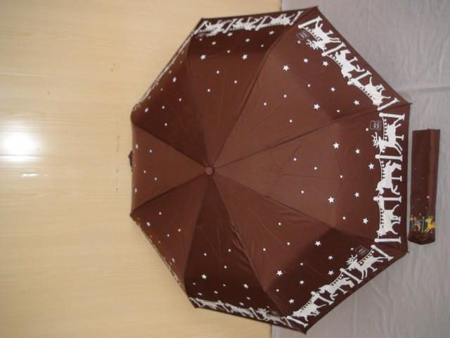 Зонт женский п/автомат, коричневый, 8 спиц, D= 100 см., полиэстер, ткань, металл
