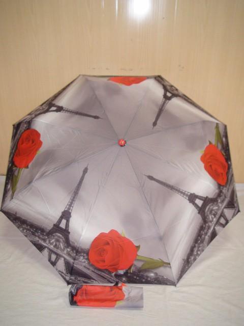 """Зонт женский автомат, """"Роза"""", 8 спиц, D= 100 см., полиэстер, ткань, металл"""