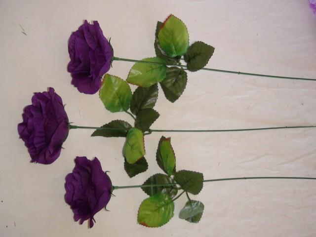 """Цветок """"Роза"""" 40 см., 5*8 см., пластик, ткань, металл, фиолетовый"""