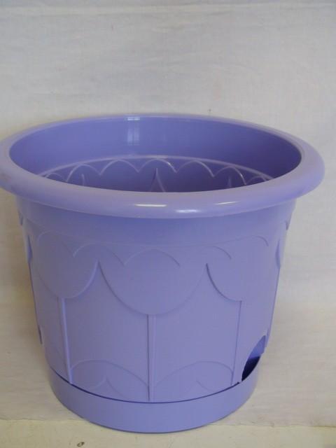Горшок для цветов с поддоном фиолетовый 225 мм., пластик