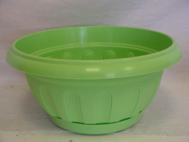 Горшок для цветов с поддоном зеленый 3,7 л., пластик