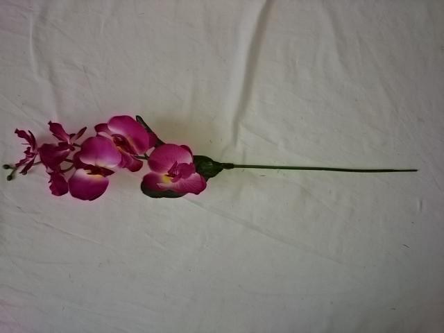 Ветка орхидеи 6 голов, 50 см., пластик, ткань, металл, бордовая,  1 штука